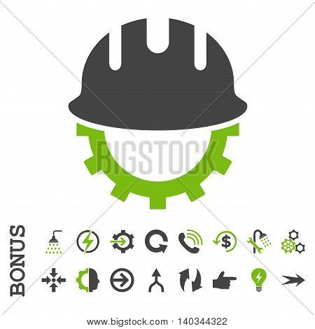 Development Hardhat vector bicolor icon. Image style is a flat iconic symbol, eco green and gray colors, white background.