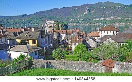 View over Village of Orta San Giulio to Isola San Giulio at Lake Orta,Piedmont,Italy