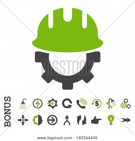 Development Hardhat vector bicolor icon. Image style is a flat pictogram symbol, eco green and gray colors, white background.