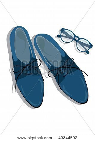 Male shoes top view. Elegant shoes Vector