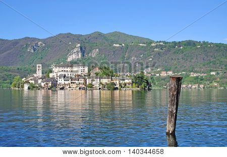 View from Orta San Giulio to Isola San Giulio at Lake Orta in Piedmont,Italy