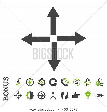Expand Arrows vector bicolor icon. Image style is a flat iconic symbol, eco green and gray colors, white background.