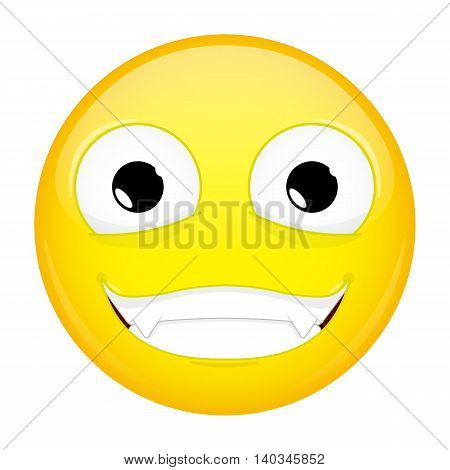 Evil emoji. Happy emotion. Nibbler emoticon. Vector illustration smile icon.