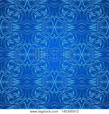 Abstract seamless pattern in blue with sharp line ornament