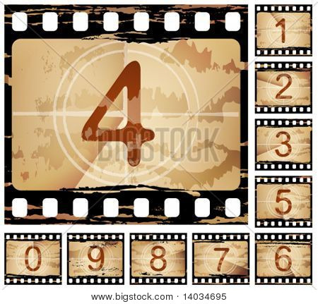 vector grunge film countdown, each frame different