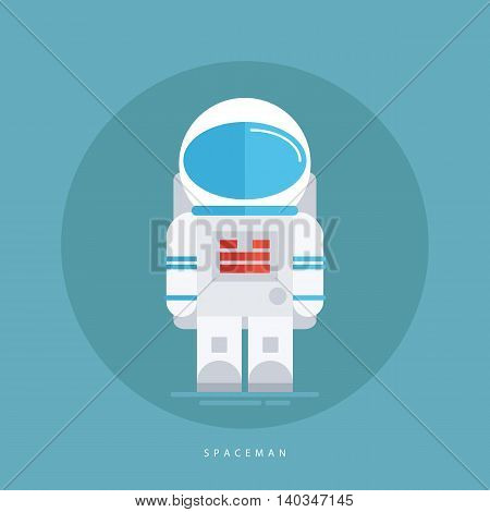 Spaceman in spacesuit and helmet isolated on blue background. Astronaut icon. Flat style design vector illustration.