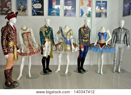 SOCHI, RUSSIA - FEBRUARY 1, 2015: Detail of collection costumes Moscow designer Dmitry Paradizov, exhibited in Museum of Sports Glory