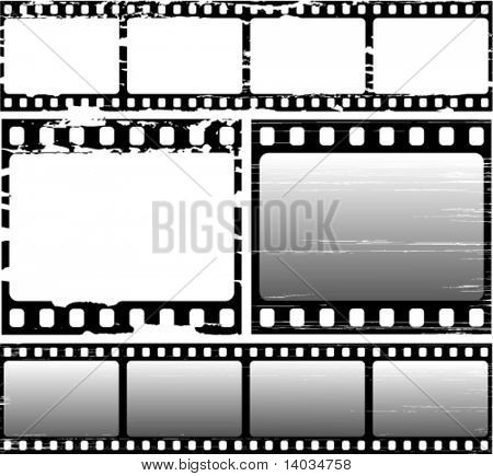vector set of scratched film frame samples