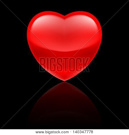 Shiny red heart with reflection on black background