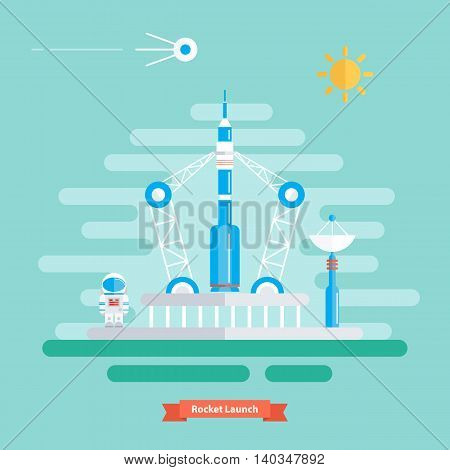Rocket launch. Landscape with rocket, spaceman and satellite. Sunny day. Flat design vector illustration.