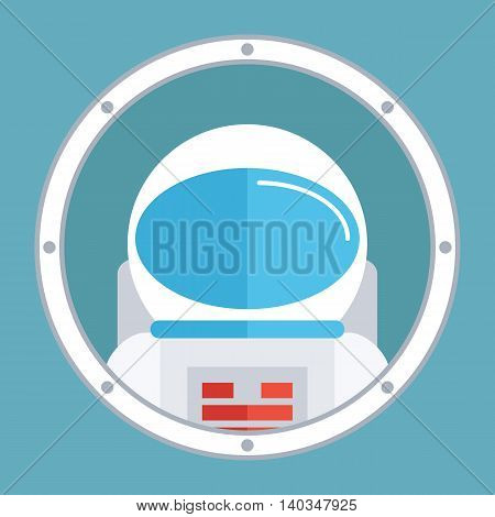 Astronaut in porthole. Spaceman icon. Flat style design vector illustration.