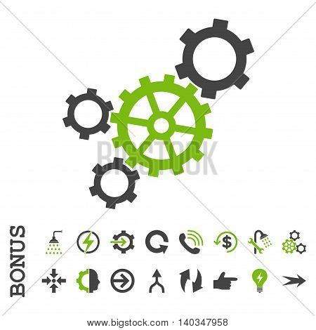 Mechanism vector bicolor icon. Image style is a flat pictogram symbol, eco green and gray colors, white background.