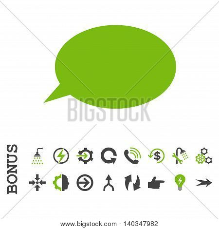 Message Cloud vector bicolor icon. Image style is a flat iconic symbol, eco green and gray colors, white background.