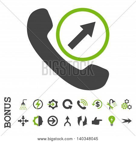 Outgoing Call vector bicolor icon. Image style is a flat iconic symbol, eco green and gray colors, white background.