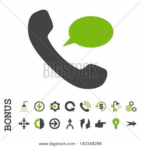Phone Message vector bicolor icon. Image style is a flat iconic symbol, eco green and gray colors, white background.