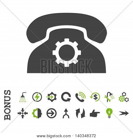 Phone Settings vector bicolor icon. Image style is a flat pictogram symbol, eco green and gray colors, white background.