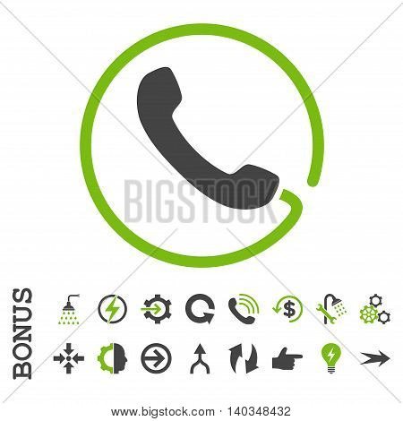 Phone vector bicolor icon. Image style is a flat iconic symbol, eco green and gray colors, white background.