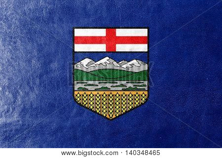 Flag Of Alberta Province, Canada, Painted On Leather Texture