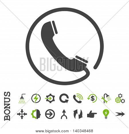 Phone vector bicolor icon. Image style is a flat pictogram symbol, eco green and gray colors, white background.