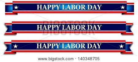 Happy Labor Day, blue banner  with stars