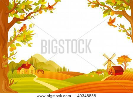 Vector illustration of beautiful autumn landscape on white background in modern style with elegant text lettering, copy space. Countryside fall farm symbols - barn, mill, apple trees, farm animals.