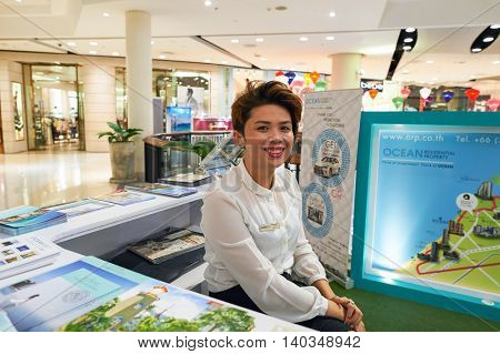 PATTAYA, THAILAND - FEBRUARY 22, 2016: indoor portrait of a woman at Central Festival Pattaya. Central Festival Pattaya Beach is a shopping mall in Pattaya, Thailand.