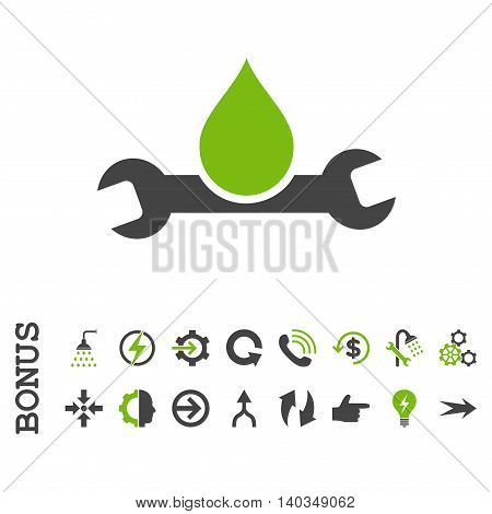Plumbing vector bicolor icon. Image style is a flat iconic symbol, eco green and gray colors, white background.