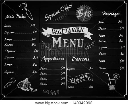 A full vector template Chalkboard menu for vegetarian restaurant and hand drawn elements