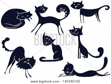 Vector black silhouettes of cute cats on white