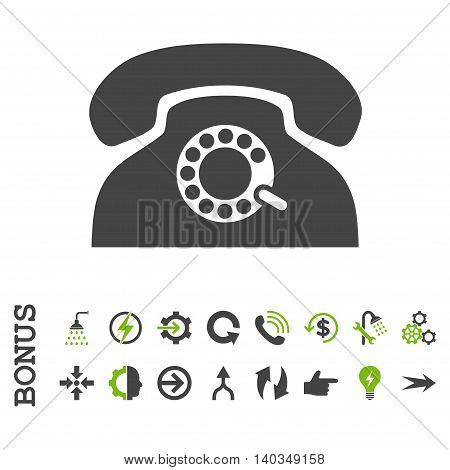 Pulse Phone vector bicolor icon. Image style is a flat pictogram symbol, eco green and gray colors, white background.