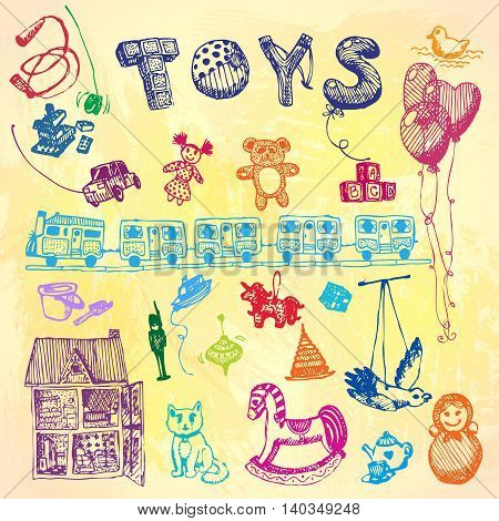 Doodle hand drawn toys. Colored illustration, watercolor background. Design, shop, ad, child, kindergarten, elementary school.
