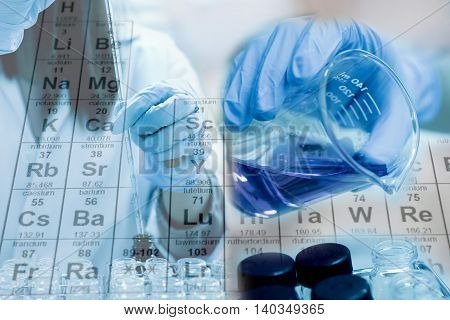 Test Tube And Beaker In Scientist Hand With Equipment And Science Experiments ,scientist Fill Chemic