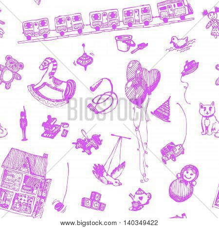 Hand drawn doodle toys seamless pattern. Pink pen objects, white background. Play, game, kids, children, child, poster, flyer, design.