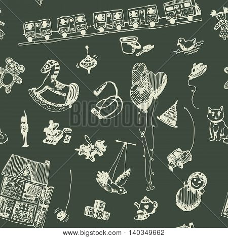 Hand drawn doodle toys seamless pattern. Chalk outlined objects, blackboard background. Play, game, kids, children, child, poster, flyer, design.