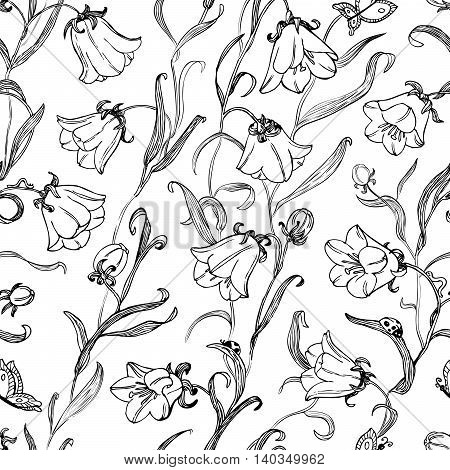 Black and white doodle floral seamless pattern with ladybird
