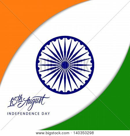 Indian Independence Day concept with Ashoka wheel and 15th August handwritten inscription. Vector Illustration.