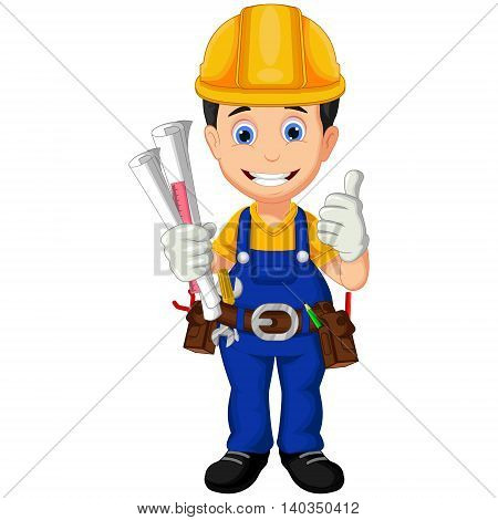 architect cartoon thumb up for you design