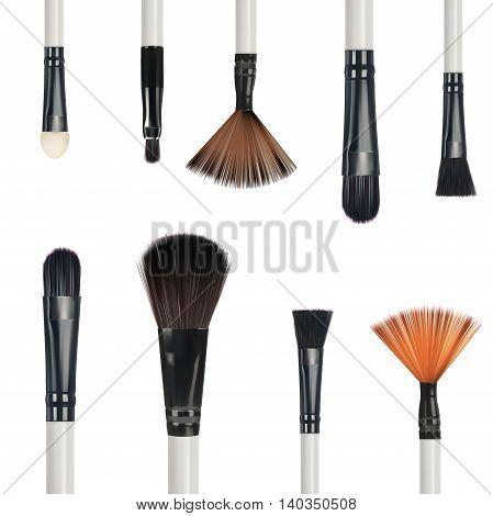 Set of make-up brushes isolated on white background vector