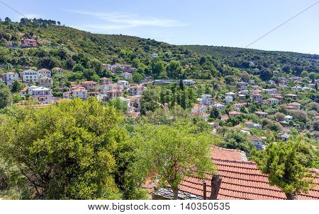 View of Afetes village in Pelio, Thessaly, Greece