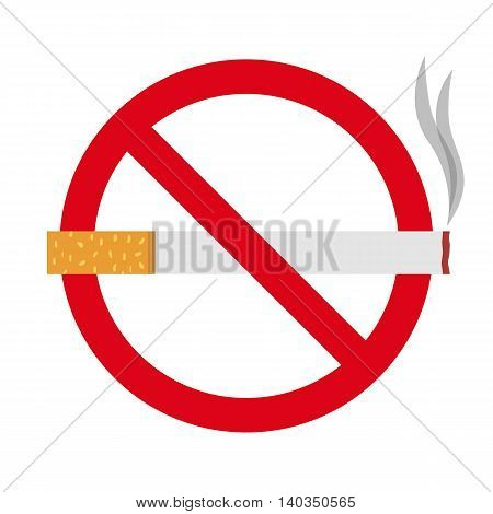 Flat icon cigarette. No smoking sign. Vector illustration.