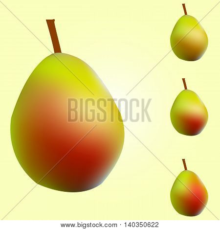 Ripe red and yellow pears vector illustration.