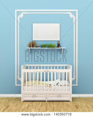 Classic children room with cradle. 3d illustration