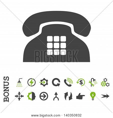 Tone Phone vector bicolor icon. Image style is a flat pictogram symbol, eco green and gray colors, white background.