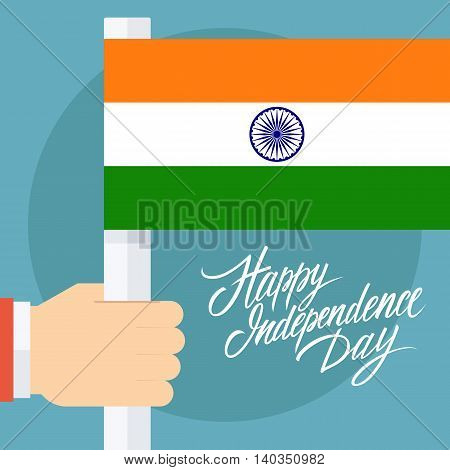 Indian Independence Day greeting card with male hand holding Indian flag. Vector illustration.