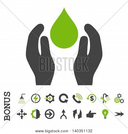 Water Care vector bicolor icon. Image style is a flat iconic symbol, eco green and gray colors, white background.