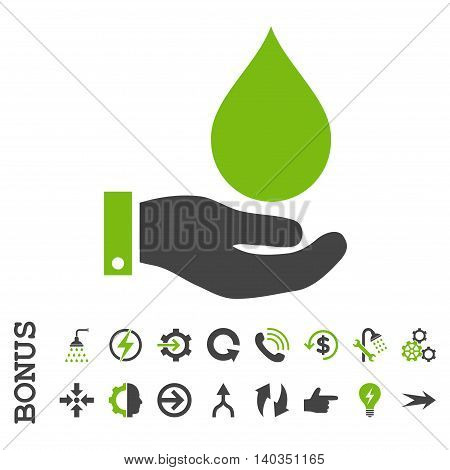 Water Service vector bicolor icon. Image style is a flat pictogram symbol, eco green and gray colors, white background.