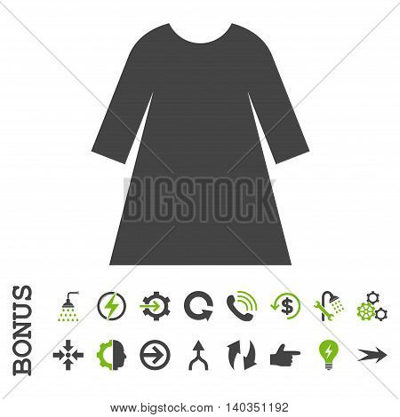 Woman Dress vector bicolor icon. Image style is a flat iconic symbol, eco green and gray colors, white background.