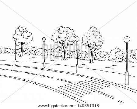 Crosswalk road graphic art black white landscape illustration vector