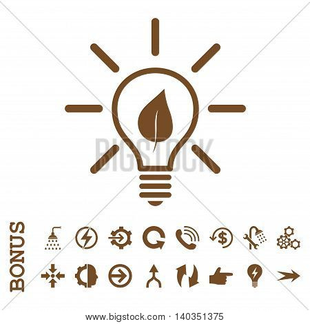 Eco Light Bulb vector icon. Image style is a flat pictogram symbol, brown color, white background.
