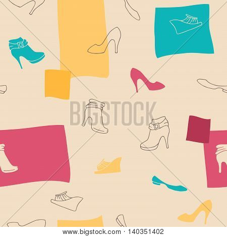 Shoes seamless pattern graphic art blue pink yellow beige brown color illustration vector